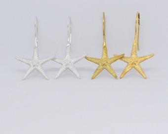 Large starfish drop earrings