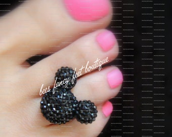 Mouse Toe Ring, Resin Mouse Head Embellishment, Stretch Bead Toe Ring