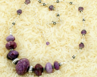 Rich Purple Sugilite Jasper and Silver Necklace