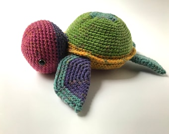 "Stuffed animal- Ready to Ship- ""Cupcake"" amigurumi sea turtle"