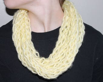 Pastel Yellow Finger Knit Infinity Scarf