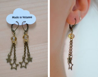 Starry - antiqued, bronze charm earrings yellow faceted beads, and stars - unique dangle earrings