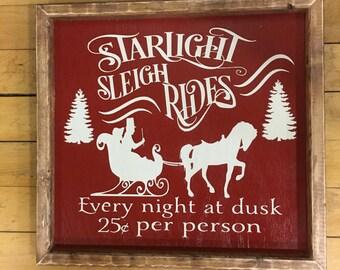 Sleigh Rides Sign, Christmas Sign, Christmas Decor, Sleigh Rides, Christmas Wood Sign, Farmhouse Wood Sign,