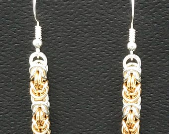 Alternating gold and silver byzantine chain maille earrings