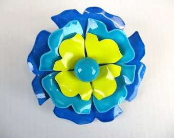 Vintage 1960s Blue and Yellow Flower Brooch 60s Mod Flower Pin