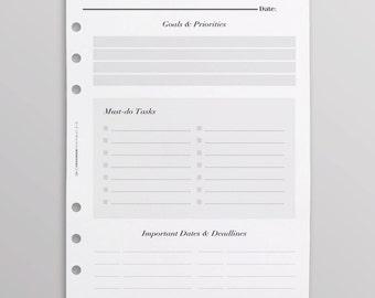 PRINTED Monthly Planner Inserts UK | Kikki K Inserts | Monthly Goals | Work Planner | Monthly To Do List | Filofax Inserts | Minimal Planner
