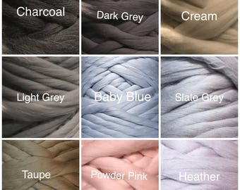 21.5 Microns 100% Merino Roving Wool Yarn, super chunky yarn for arm knitting- Custom