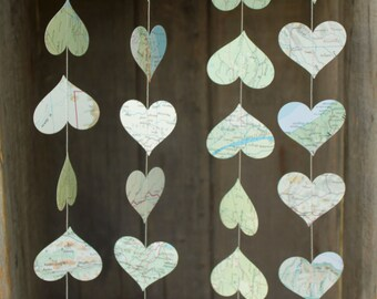 Paper Garland, Travel Theme, Map Decoration, Atlas, Paper Hearts, Party Decoration, Wedding Decoration, 2 inch hearts, 10 feet long