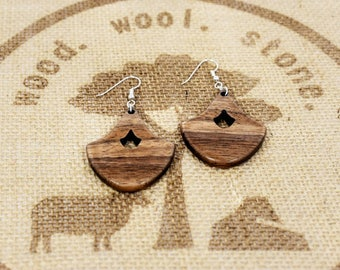 Koa Wood Dangle Earrings / Wood Dangle Earrings / by wood.wool.stone