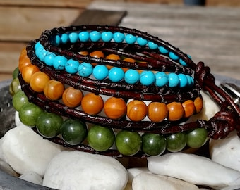 Beads wrap bracelet 3 laps - jade/turquoise/wood beads - Brown - Girl/woman/unisex dyed leather cord