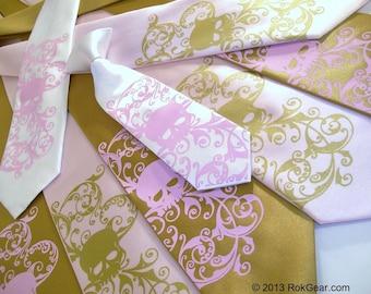 2 Skull ties, 1 Mens tie and 1 Boys tie custom color print to order RokGear Skull print neckties