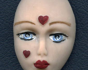 "Polymer  Detailed Art Doll   Face with hearts ""I Give you my Heart"" GVBL1"