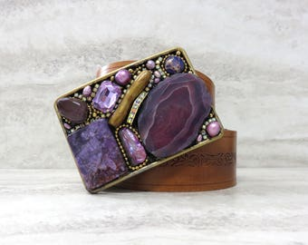 Agate Belt Buckle with Purple Agate Slice & Rhinestones- Large Unique Buckle in Violet Semi Precious Stones For Women by Sharona Nissan