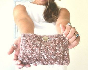 Crochet Clutch - 50% OFF - Dusty Rose White - Small Crochet Evening Bag - Textured Shell Stitch Handbag - Fabric Lining
