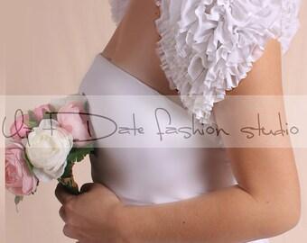 White Wedding bolero/Bridal tulle cover up/  tulle jacket /cover up/wrap in ruffled layers/white shrug/wrap/custom color