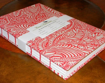 Medium Red & White Leaf Print Fabric Covered Coptic Stitch Bound Lined Journal 6x8 inch