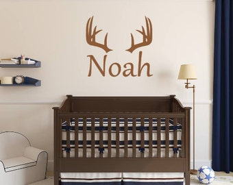 Vinyl wall decal, Deer, Antlers, Buck, Personalized, Rack, Hunting, Rustic, Lodge, Boy, Girl, Children, Name, Wall Decal, Vinyl decal,