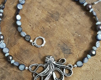 Natural Black Shell Peacock Freshwater Pearl Aquamarine Octopus Toggle Necklace