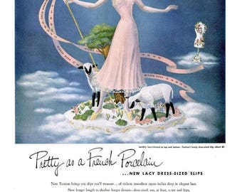 1948 Textron French Fashion & Kay Cheese Ad Old English Nursery Rhyme Mary Had a Little Lamb Sheep Sky Cloud Dress Form Powder Room Wall Art