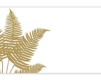 "50 Metallic Gold ""Palm Fronds"" White Florist Blank Enclosure Cards Small Tags Crafts (Free Shipping!)"
