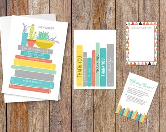 Book Themed Baby Shower Invitation Gender Neutral  Fill-in-the-Blank Printable