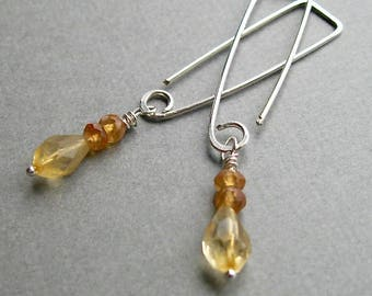 Natural citrine faceted teardrop dangle earrings on geometric hand formed sterling wire, contemporary dangle earrings