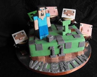 35 Piece Minecraft Edible Chocolate Fondant Cake/CupcakeToppers and DIY Decorating Set