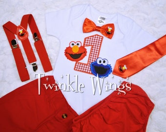 2-pc set Sesame street Cookie Monster Elmo inspired birthday outfit - include personalised top and bottom 12months