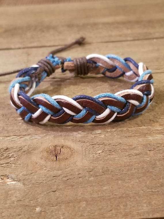 Brown Blue Braided Leather Adjustable Bracelet Native American Style Fashion Cuff Boho Hippie (B72)