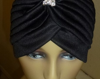Chemo Black Dressy Turban Hat with Rhinestone Pin, Dressy Black Turban with Detachable Pin