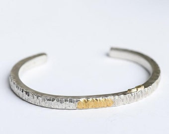Thin Silver Bangle | Silver and Gold Bangle | Silver Hammered Bangle | 24K Gold Inlay Bangle | Minimalist Bracelet | Arrow Charm Bracelet