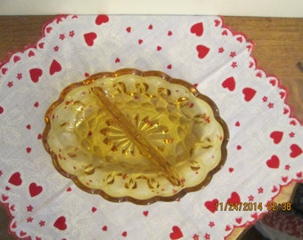 Anchor Hocking Fairfield Amber Oval Divided Glass Dish