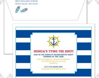 Striped Anchor Party Invite, Nautical Invite, Nautical Birthday, Red white & blue invite, Nautical Shower invite, Anchor Bachelorette Invite