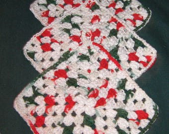 "Three Dish or Wash Cloths, Red, White and blue, 7"" square, crochet"