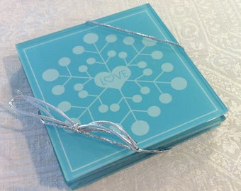 Set of 4 Blue Wedding Glass Cup LOVE Heart Coasters
