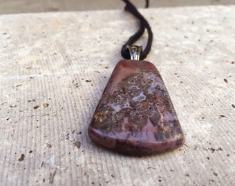 Purple Agate Natural Stone Handmade Cabochon Pendant Necklace