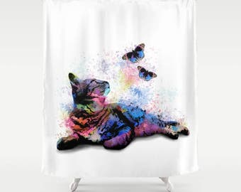 Shower Curtains, Cat Shower Curtain, Bathroom, Bath, Cat 614 pink blue butterfly Home Decor L.Dumas