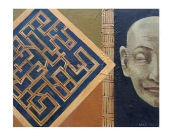 "art Labyrinth original painting figurative man portrait oil canvas 16"" x 20"" FREE shipping US"
