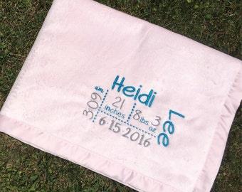 Personalized Baby Announcement Blanket, Monogrammed Baby Blanket, Baby Stats Blanket
