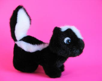 Vintage Skunk Stuffed Animal by GUND Kids Toy 1980s Toy Forest Animal Black and White Softie Plush Blue Eyes 1987 Toy Plush