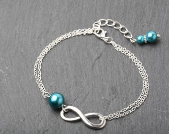 Teal bracelet, Infinity bracelet, Bridesmaid bracelet, eternity bracelet, teal wedding bracelet, mother of the bride gift, infinity jewelry