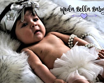 Silver Baby Headband, Newborn Headband, Christening Headband, Girls Headband, Flower Girl Headband, Photo Prop