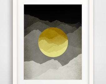 Mid Century Modern Wall Art Mountain Art Abstract Wall Art Print Outdoor Gift Scandinavian Art Mountain Print Nordic Grey and Yellow