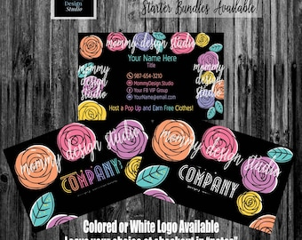 MultiColored Hand Drawn Roses Business Card - Home Office Approved Branding Guide Fonts Colors -Black Business Card- Leggings business cards