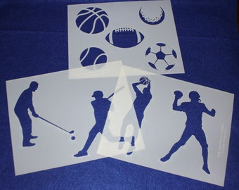 3 Piece Set -Mylar 14 Mil Sports Stencils Painting/Crafts/Stencil