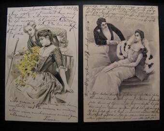 2 x Original vintage postcards lady and gentleman 1902 and 1904