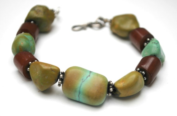 Turquoise horn Bead   Bracelet -  Blue green turquoise Gemstone - brown horn   Boho Bangle
