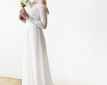 Ivory Wedding Dress with a Train Off-The-Shoulder Floral Lace Long Sleeve Maxi, Wedding Dresses with Long Trains 1148