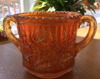 Imperial Carnival Glass Marigold Rose Lustre Sugar Bowl