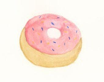 "Donut with Pink Icing, 6""x6"" print from an original watercolor"